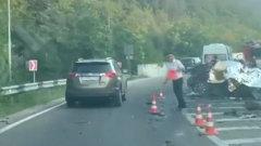 Жесткая авария с грузовиком и легковушками в Крыму попала на видео