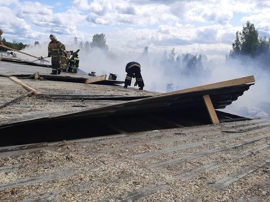 В Окуловке горит деревообрабатывающий завод