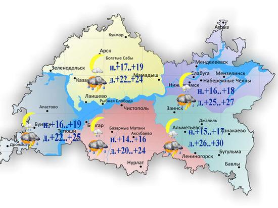 До 30 градусов тепла и дожди прогнозируются в Татарстане 22 июля