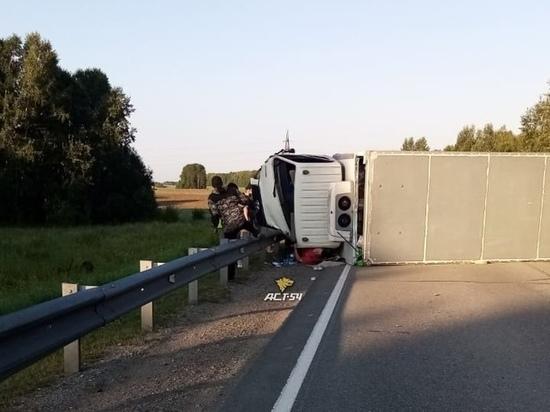 Водителя грузовика придавило кабиной в ДТП на трассе в Новосибирской области