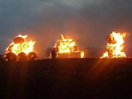 Семь пожарных тушили горящую солому в Медведевском районе Марий Эл