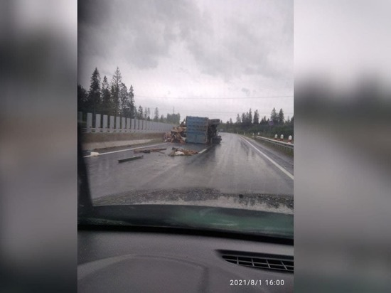Груженный мусоровоз прилег на трассе под Петербургом, перегородив движение