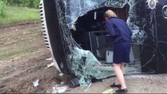 В Саратовской области перевернулся пассажирский автобус: видео