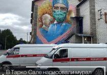 Благодарность медикам и северные ягоды: граффити украшают фасады зданий в Тарко–Сале