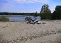 Отдыхающие оставили гору мусора на берегу озера в Ноябрьске