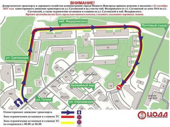 На набережной Федоровского и ул. Суетинской вводится одностороннее движение