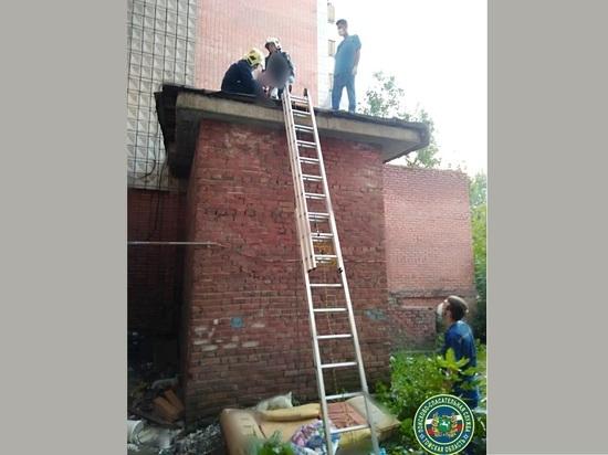 Выпавшую из окна томичку спасателям пришлось снимать с козырька пристройки