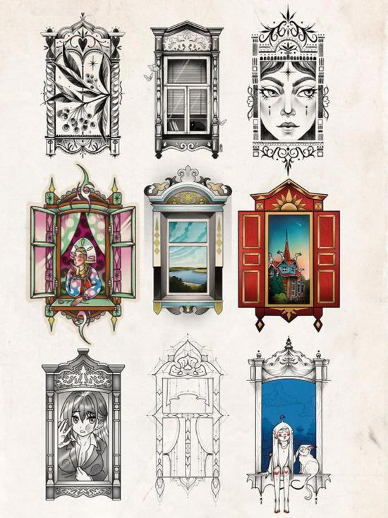 Мастера тату-салона создали эскизы, посвященные деревянному зодчеству Томска