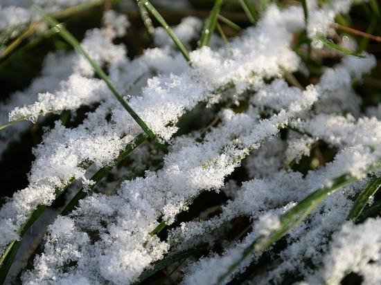 Первый снег выпал в поселке Кемеровской области