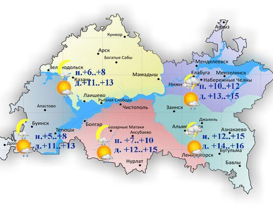 В Татарстане 15 сентября утром ожидается гроза