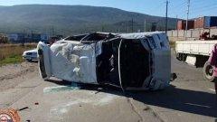 В Магадане водитель Мицубиси получил тяжелые травмы, после опасного обгона