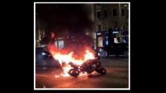 Появилось видео возгорания мотоцикла после ДТП на Садовом кольце