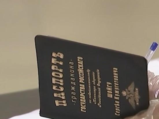 Шойгу показал обложку паспорта с дореволюционной орфографией, придя на выборы