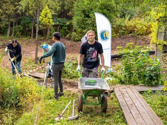 Сахалинцы помогли подготовить площадки под саженцы деревьев