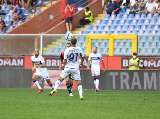 Александр Кокорин получил желтую карточку спустя пять минут после выхода на поле в матче чемпионата Италии