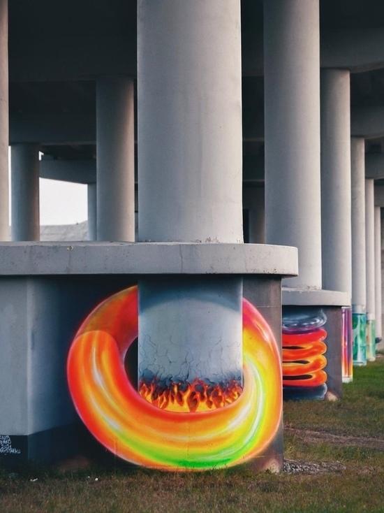Под мостом через Оку в Калуге вновь появились 3D-граффити