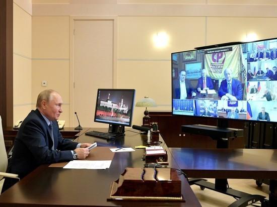 Фрагмент событий, произошедший за кулисами встречи президента России Владимира Путина с лидерами партий, прошедших в Госдуму, показали в программе «Москва