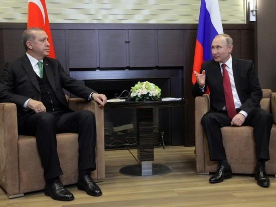 В Кремле раскрыли темы переговоров Путина и Эрдогана