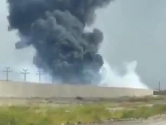 Пожар на базе США в Ираке попал на видео