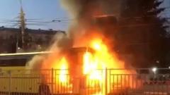 В Ярославле на проспекте Октября сгорел туристический автобус