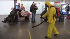 Как проходит дезинфекция вокзалов от COVID-19 в Москве: видео