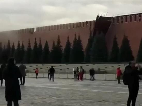 На Кремлевской стене в Москве повреждено три зубца из-за сильного ветра