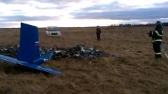 Место падения легкомоторного самолета в Подмосковье сняли на видео