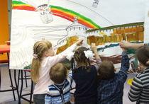 Дети и художники рисовали вместе