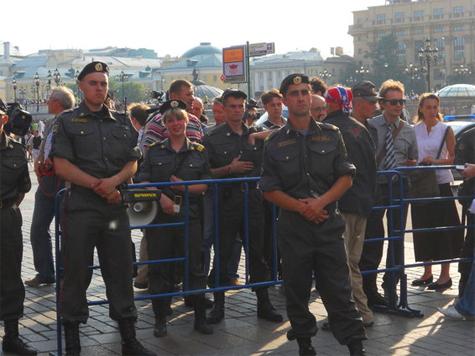 На Манежной площади дежурят усиленные наряды милиции