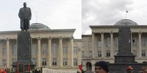 В Гори демонтировали памятник вождю