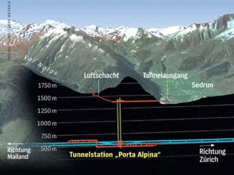 В Швейцарии построят подземный вокзал на глубине 800 метров