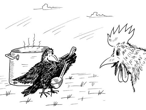 Ворона и петух