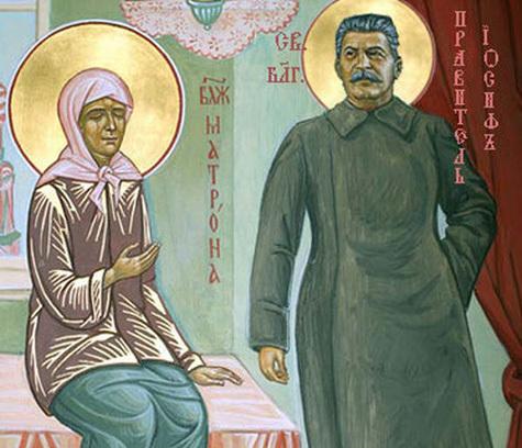 """Икона """"Великая победа"""", написанная на основе """"апокрифического"""" сюжета о небесном покровительстве Сталину, доставлена в Санкт-Петербург"""
