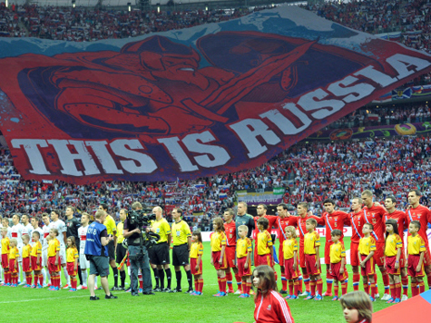 Баннер «This is Russia» готовили еще для матча с Чехией