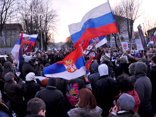 В Белграде прошел митинг в знак поддержки России