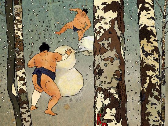 Сумоистов научили лепить снеговиков
