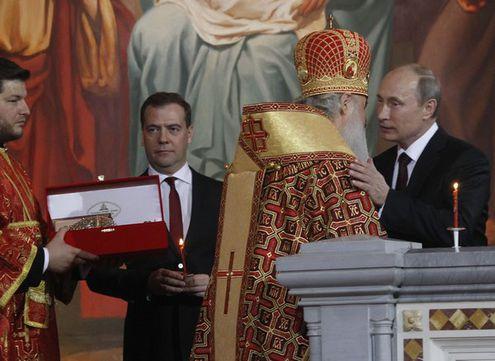 Путин, Медведев и Собянин на пасхальной службе в Храме Христа Спасителя