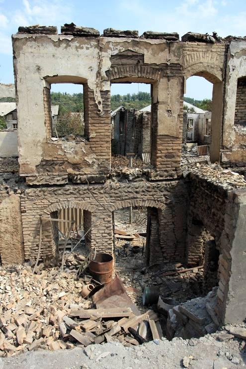 Южная Осетия, город Цхинвали разрушенный после нападения грузинских войск