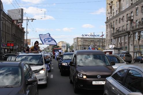 Москву раскрасили в динамовские цвета