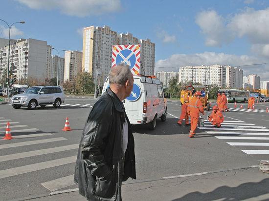 В Москве начался эксперимент  по обустройству диагональных наземных переходов
