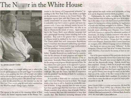 Американская газета напечатала статью в защиту Обамы под названием