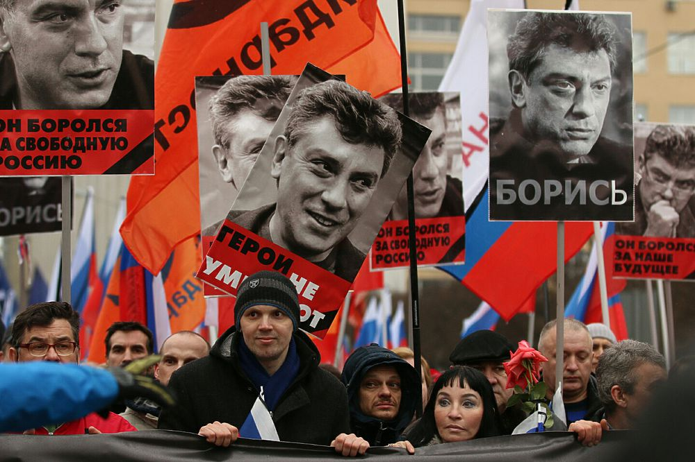 Траурный марш памяти Бориса Немцова в Москве