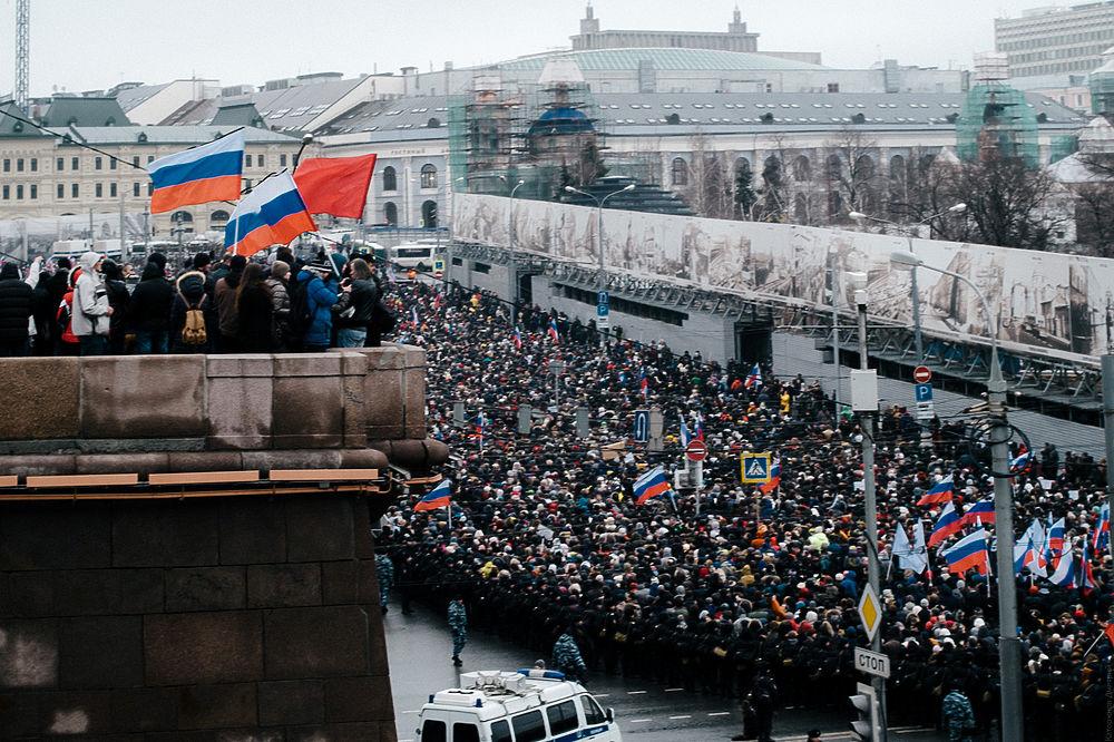В Москве завершился траурный марш, посвященный памяти Бориса Немцова